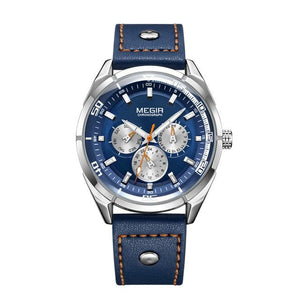 NAVY BLUE MEGIR CHRONOGRAPH LEATHER STRAP SPORT WATCH