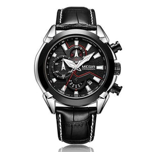 ONYX BLACK LEATHER STRAP CHRONOGRAPH SPORT WATCH