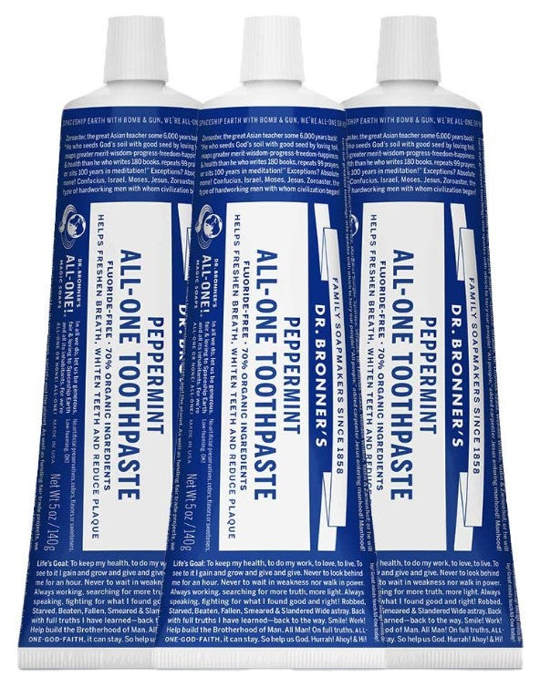 Dr. Bronner's - All-One Toothpaste (Peppermint, 5 ounce, 3-Pack) - My Simple Changes