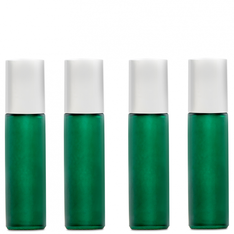 Green Frosted Glass Essential Oil Roll-On Bottles (10 ml, 1/3 fl oz) - My Simple Changes