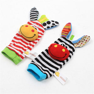 Infant baby toys bebe rattles/socks 2 pcs/set can make sound cute toy for baby boy kids toy Hanging  Early Learning Educate