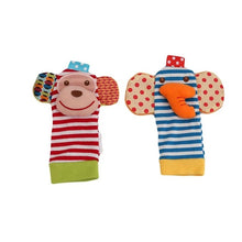 Load image into Gallery viewer, Infant baby toys bebe rattles/socks 2 pcs/set can make sound cute toy for baby boy kids toy Hanging  Early Learning Educate