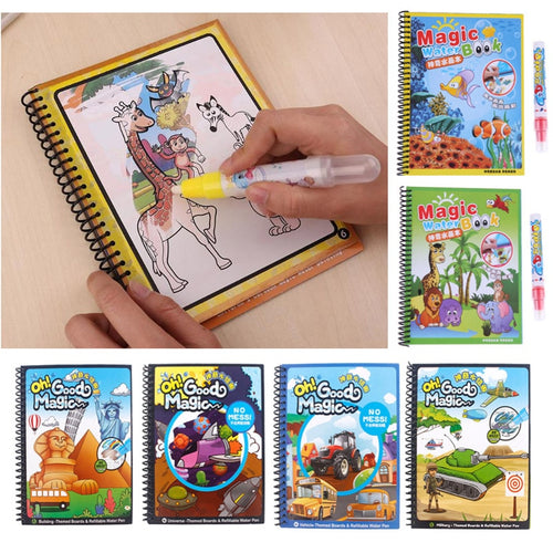 Coloring Magic Water Drawing Book with Pen Baby Educational Toy Animals Painting Writing Doodle Cloth Book Kids Drawing Board