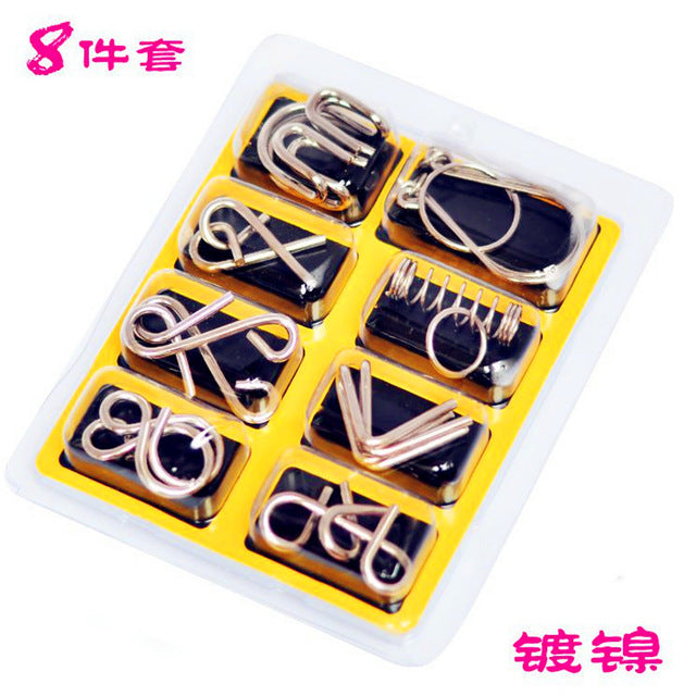8pcs/Set Metal Wire Puzzle IQ Mind Brain Teaser Puzzles Game Adults Children Kids Montessori Early Educational Toys A Nice Gift.