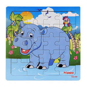 Hot Sale 9/20 Slice Small Piece Puzzle Toy Children Animals and Vehicle Wooden Puzzle Jigsaw Baby Educational Toys for Kids Gift