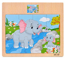 Load image into Gallery viewer, Montessori Toys Educational Wooden Toys for Children Early Learning 3D Cartoon Animal Traffic Puzzle Kids Math Jigsaw