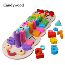 Load image into Gallery viewer, Children Wooden Toys Montessori Materials Learn To Count Numbers Matching Digital Shape Match Early Education Teaching Math Toys