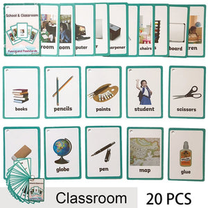 Children Baby English Learning Word Card Pocket Flash  Learning Montessori Educational Toys Word Table Game Card for kids