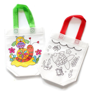Antistress Puzzles Educational Toy for Children DIY Graffiti Bag Kindergarten Hand Painting Materials Rope Color Random