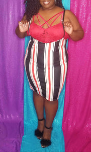 Candy Stripe Overalls Skirt