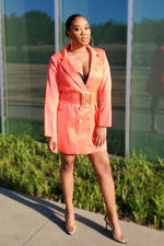 Load image into Gallery viewer, Neon Satin Blazer Dress