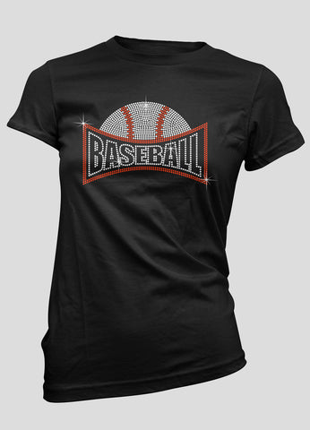 baseball with arched word baseball underneath rhinestone shirt