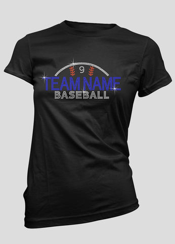 Custom rhinestone baseball shirt