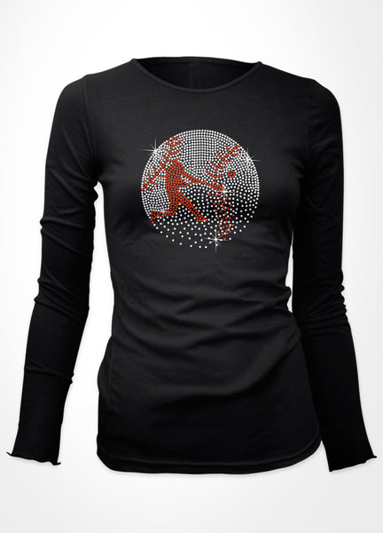 Rhinestone baseball with batter in it faded at bottom bling shirt