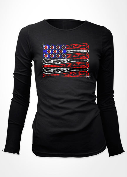 Baseball Flag baseball bling shirt