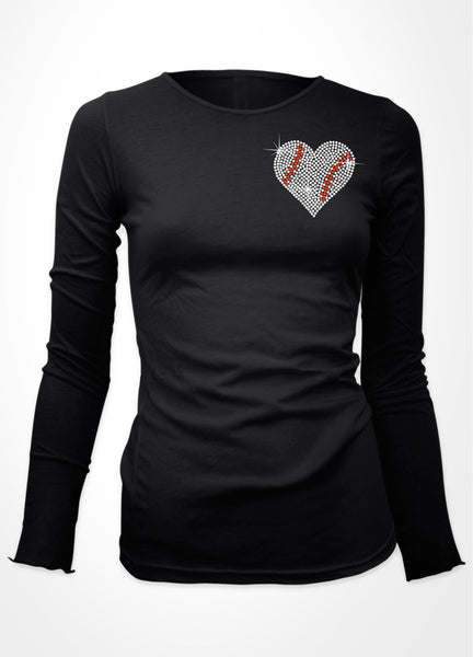 Small baseball heart bling shirt