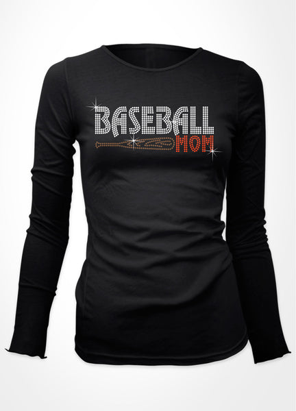 Baseball Mom with bat bling shirt