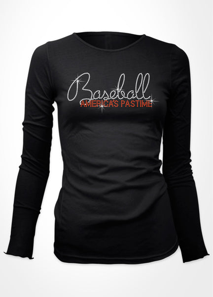 Baseball America's Pastime written in rhinestones bling shirt