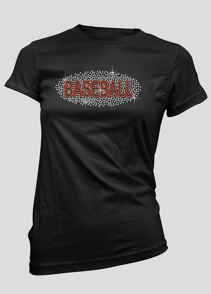 Baseball with rhinestones bling shirt
