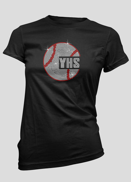Large baseball with your school's initials bling shirt