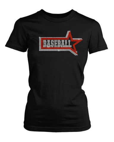 Baseball word with Star around it bling rhinestone shirt