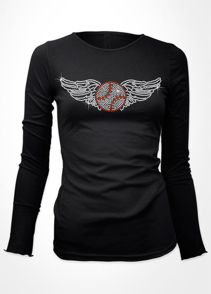 Baseball with wings baseball bling shirt