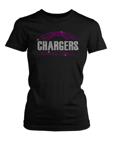 Chargers with Basketball Bling Rhinestone Shirt