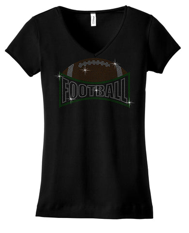 Football with word football rhinestone shirt