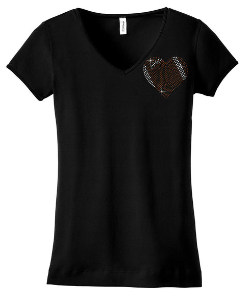 Football heart bling shirt small