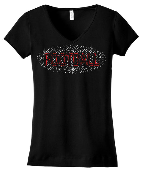 Football word in scattered rhinestones shirt