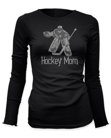 Goalie with Hockey Mom underneath bling rhinestone shirt
