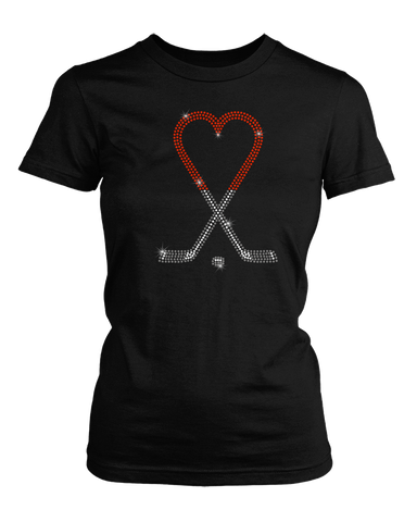 Heart Hockey Sticks bling rhinestone shirt