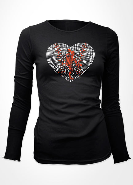 Baseball Heart with silhouette of pitcher rhinestone shirt