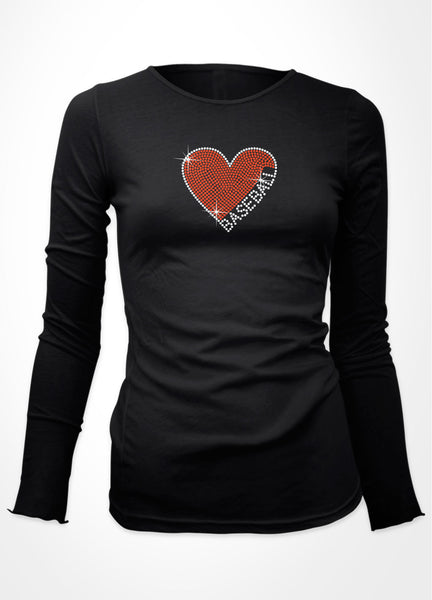 Rhinestone Heart with BASEBALL written on right side bling shirt