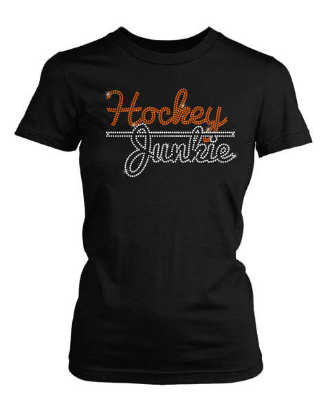 Hockey Junkie bling rhinestone shirt
