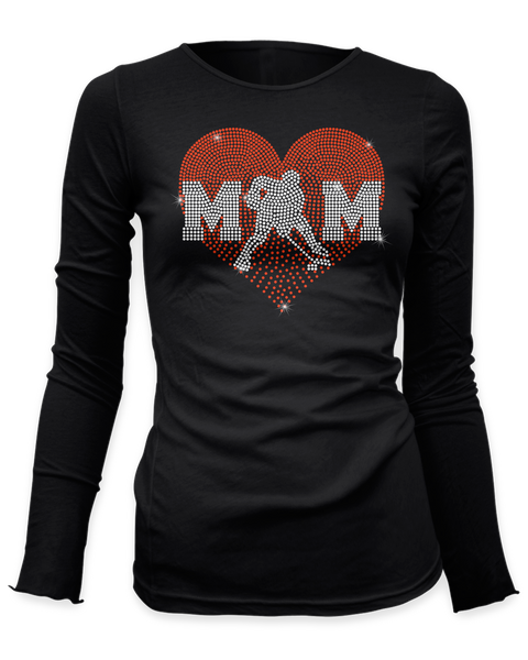 Heart with Hockey MOM bling rhinestone shirt