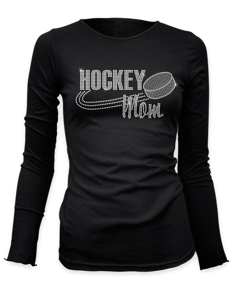 Hockey Mom with Puck bling rhinestone shirt