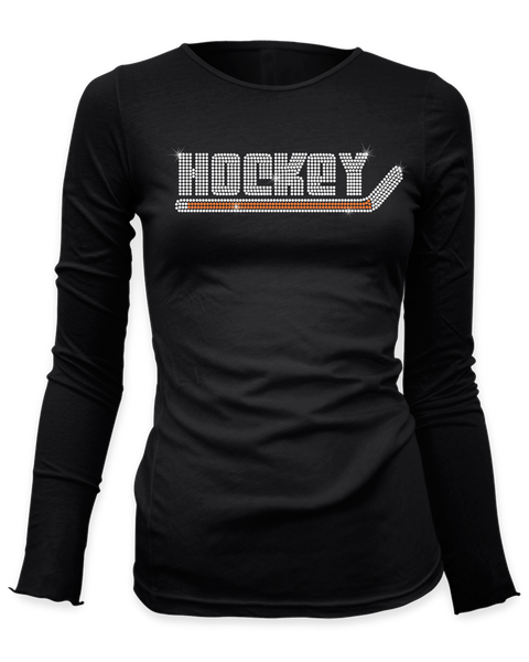 Hockey with Stick bling rhinestone shirt