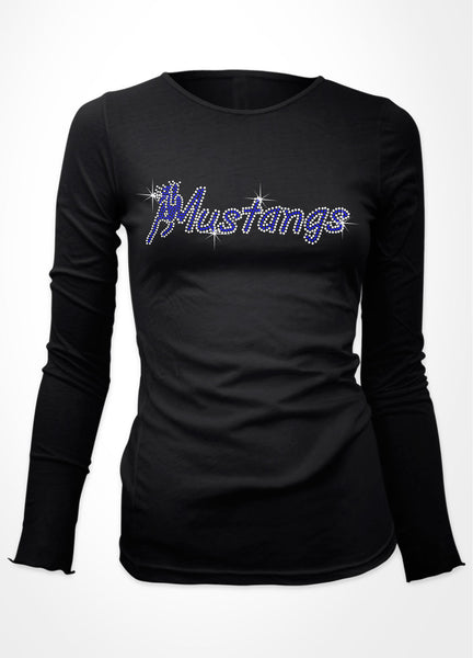 "Mustangs word with Horse ""M"" rhinestone shirt"