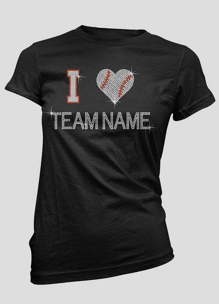 I baseball heart your team name bling shirt