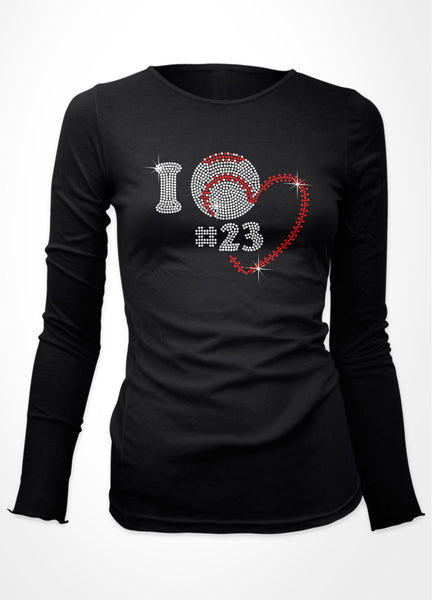 Rhinestone I with baseball and heart plus added player number bling shirt