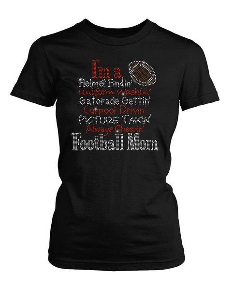 I'm a Football Mom rhinestone shirt
