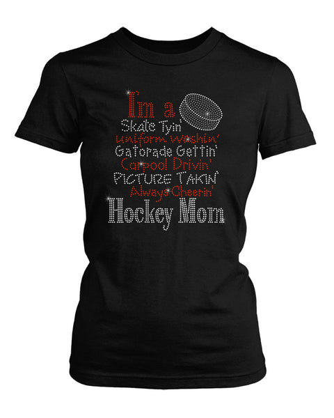 I'm a Hockey Mom bling rhinestone shirt