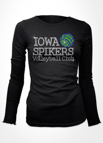 Iowa Spikers Volleyball Club with green and blue volleyball rhinestone bling shirt