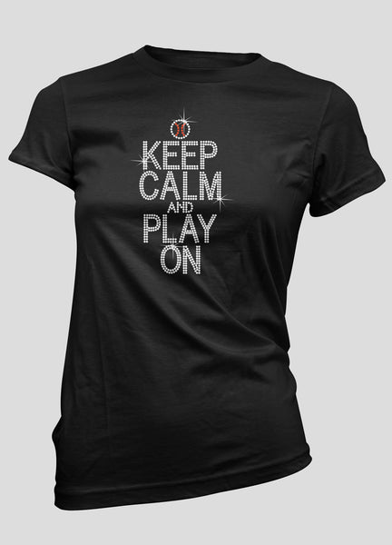 Keep Calm and Play On Baseball bling