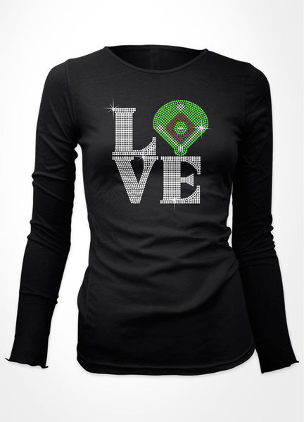 "LoVE with baseball field ""O"" bling shirt"