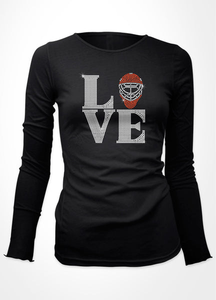 "LOVE with Goalie mask as the ""O"" Rhinestone shirt"