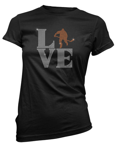 LOVE Hockey Player rhinestone bling shirt