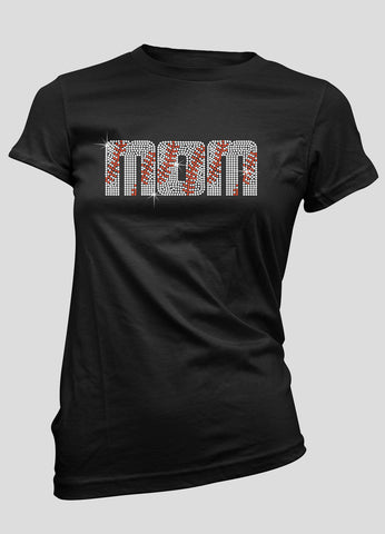 MOM baseball letters bling shirt