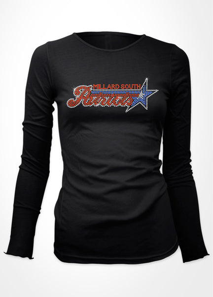 Millard South Patriots logo on shirt in rhinestones